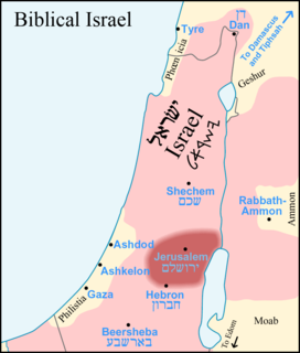 Map of region according to the Bible, showing the location of Philistine land and cities of Gaza, Ashdod, and Ashkelon