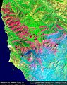 Earth from Space Soberanes Fire, Monterey County, CA, USA August 7th (28862115205).jpg