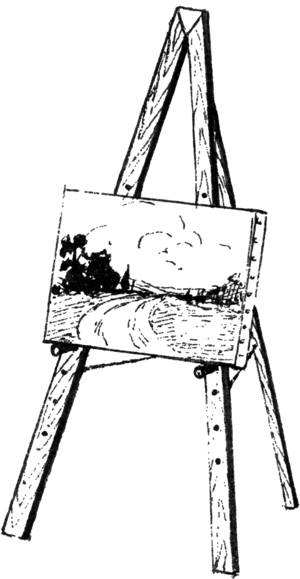 Line art drawing of an Easel