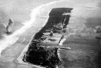 Ebeye Island - Ebeye island being shelled on 30 January 1944