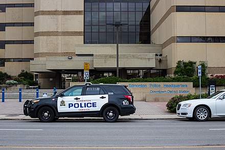 Edmonton Police Service vehicle at Downtown Headquarters. Edmonton Police At Headquarters.jpg