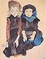 Egon Schiele - Zwei kauernde Mädchen - 1911.jpeg