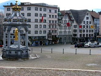 Einsiedeln - Main street of Einsiedeln, Abbey square in the foreground