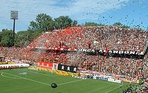 "Rosario derby - Newell´s fans at ""El Coloso del Parque""."