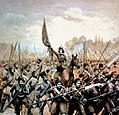 Emila Plater conducting Polish scythemen in 1831.jpg