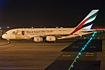 Emirates (100th A380) (Year of Zayed 2018 Livery), A6-EUV, Airbus A380-842 (28357897929).jpg