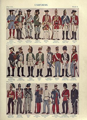 Military uniform - Illustrations of military uniforms from 1690 to 1865 by René L'Hôpital.
