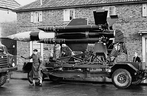 Thunderbird (missile) - Thunderbird I parked at Filton, UK,  following a tow vehicle breakdown (1960)