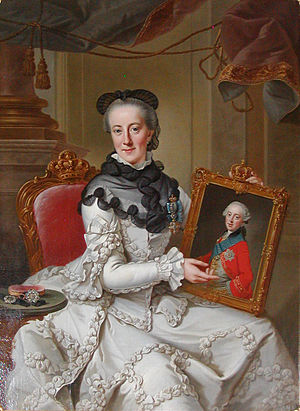 Juliana Maria of Brunswick-Wolfenbüttel - The Queen-Dowager showing the portrait of her only son hereditary prince Frederick by  Johann Georg Ziesenis.