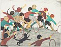 Ethel Spowers. Children's hoops, 1936. Linocut.jpg