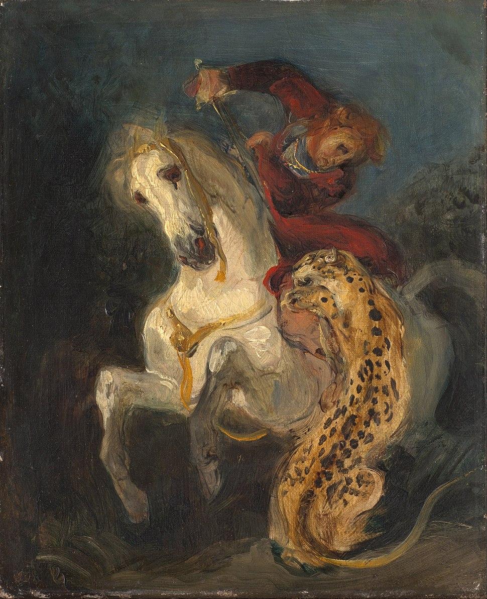 Eugéne Delacroix - Rider Attacked by a Jaguar - Google Art Project