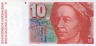 Leonhard Euler - Euler on the Old Swiss 10 Franc banknote