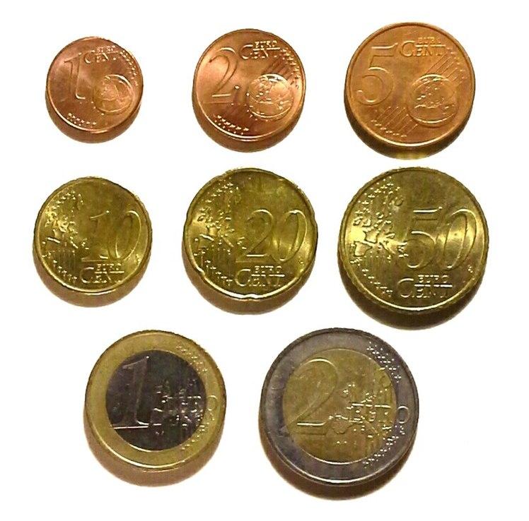 Euro coins line