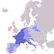 Napoleonic Empire, 1811: France in dark blue, satellite states in light blue