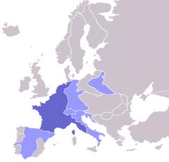 Det franske kejserdømme og dens satellitstater 1811.