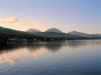 Description of the Western Isles of Scotland - Small Isles Bay, Jura with the Paps of Jura in the distance
