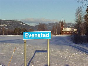 Evenstad - Image: Evenstad norway roadsign