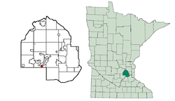 Location of Excelsiorwithin Hennepin County, Minnesota