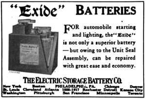 Exide - Electric Storage Battery Company advertisement for Exide batteries in the journal Horseless Age, 1918.
