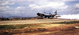 51st Fighter Wing - F-80C of the 51st Fighter-Interceptor Wing taking off from Suwon AB with a JATO bottle