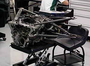Formula One car - The gearbox with mounted rear suspension elements from the Lotus T127, Lotus Racing's car for the 2010 season.