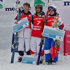 FIS Moguls World Cup 2015 Finals - Megève - 20150315 - Thomas Rowley, Anthony Benna et Alexandr Smyshlyaev 1.jpg