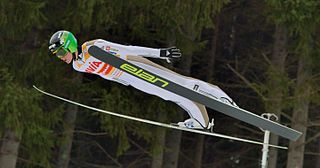 Ski jumping skiing sport with jumping down a hill