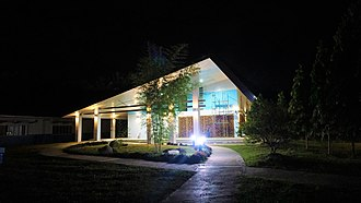 Caraga - Father Saturnino Urios University Open Field (Left) and Sudent Center (Right), at night.