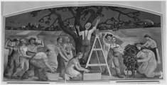 FWA-PBA-Paintings and Sculptures for Public Buildings-painting depicting people picking apples in orchard and... - NARA - 195787.tif