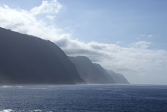 Azores - The grand cliffs of the island of São Jorge, formed by fissural volcanism.