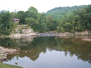 Burnsville Lake - Falls Mill area, the upstream end of Burnsville Lake at its normal pool elevation.