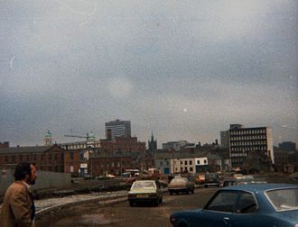 Falls Road, Belfast - The view from the Falls Road to the city centre, 1981