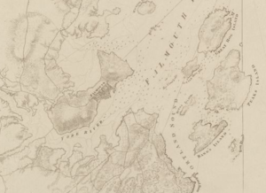 Burning of Falmouth - Detail from a 1777 nautical chart showing Falmouth (now Portland, Maine)