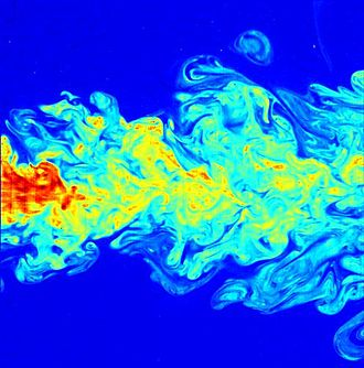 Turbulence - Flow visualization of a turbulent jet, made by laser-induced fluorescence. The jet exhibits a wide range of length scales, an important characteristic of turbulent flows.