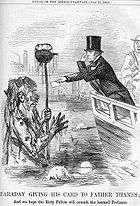 Michael Faraday meets Father Thames, from Punch (July 21, 1855)