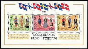 Bunad - Nordic bunad and folk dress on Faroe Islands stamps