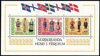 Bunad - Nordic bunad and folk dress on Faroe Islands stamps