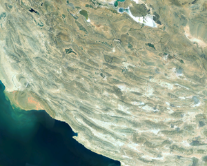Zagros fold and thrust belt - Satellite view of the Fars Domain, showing the exposed anticlines, locally with extruding salt glaciers