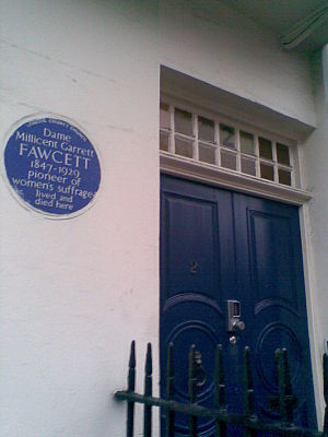 Millicent Fawcett -  Doorway of Millicent Fawcett's home at No. 2, Gower Street, London, with blue commemorative plaque