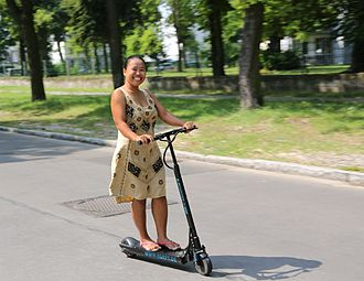 Personal transporter - Electric kick scooter in use