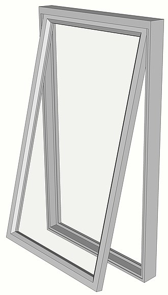 Casement window - Hinged at the top: awning window