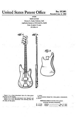 Design patent issued to Leo Fender for the second-generation Precision Bass Fender Bass Guitar Patent.jpg