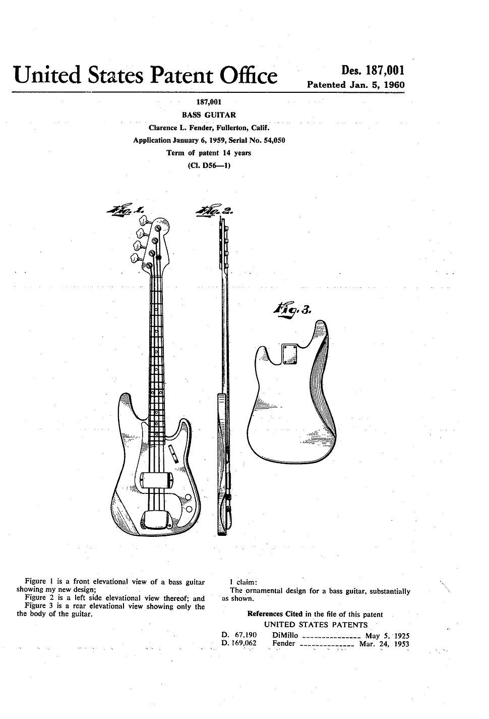 Fender Bass Guitar Patent
