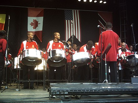 Steelpans are a type of instrument used by the Trinidad and Tobago Defence Force Steel Orchestra. Festival international de musiques militaires de Quebec 2009.jpg