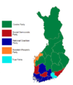 Finnish parliamentary election results by province, 2011.png