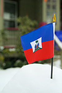Flag of Haiti in snow.jpg