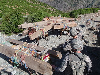 Afghans in Pakistan - US Army soldiers intercept illegal lumber smuggled through Kunar Province in Afghanistan into neighboring Pakistan.