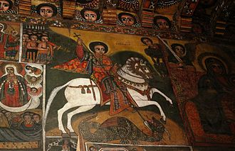 Amhara people - Mural depicting Saint George in the church of Debre Berhan Selassie in Gondar.