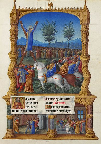 Crucifixion de saint André, Les Très Riches Heures du duc de Berry, musée Condé, Chantilly, ms.65, f.201r, Jean Colombe, vers 1485-1486