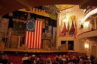 Ford's Theatre - View from beneath the balcony. The Presidential Box is at right.